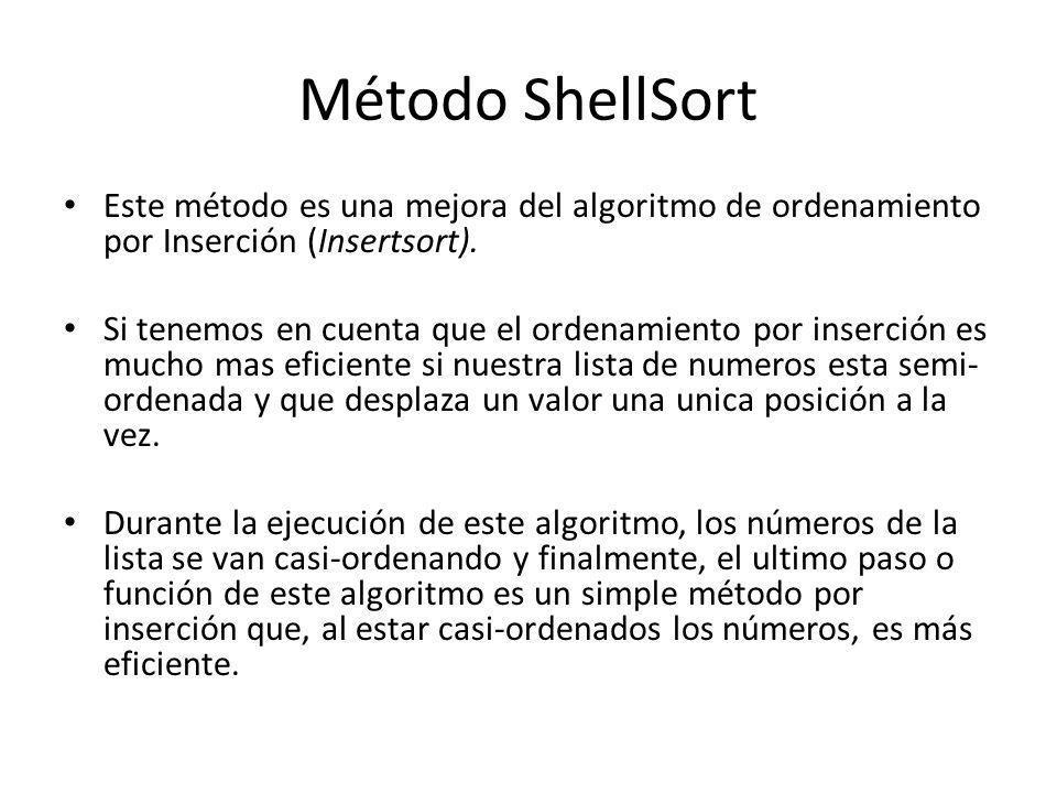 Método ShellSort Este método es una mejora del algoritmo de ordenamiento por Inserción (Insertsort).