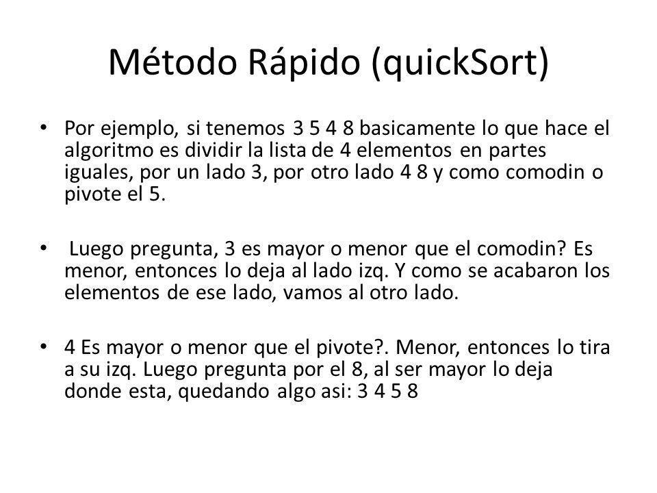 Método Rápido (quickSort)