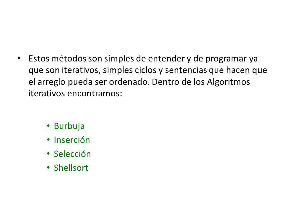 Estos métodos son simples de entender y de programar ya que son iterativos, simples ciclos y sentencias que hacen que el arreglo pueda ser ordenado. Dentro de los Algoritmos iterativos encontramos: