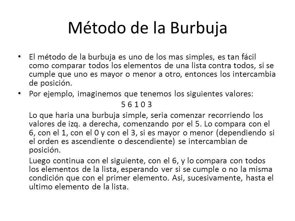 Método de la Burbuja