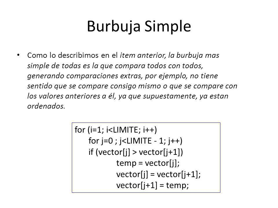 Burbuja Simple for (i=1; i<LIMITE; i++)