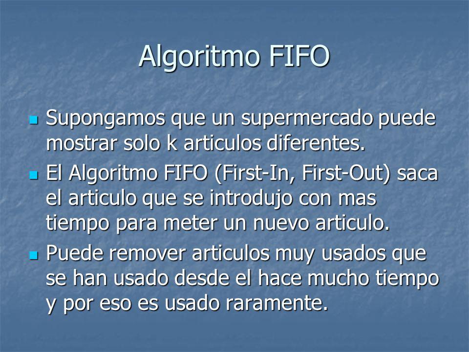 Algoritmo FIFO Supongamos que un supermercado puede mostrar solo k articulos diferentes.