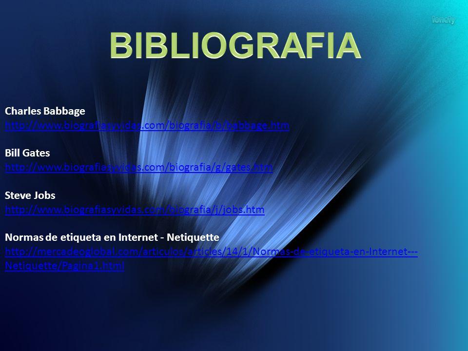 BIBLIOGRAFIA Charles Babbage