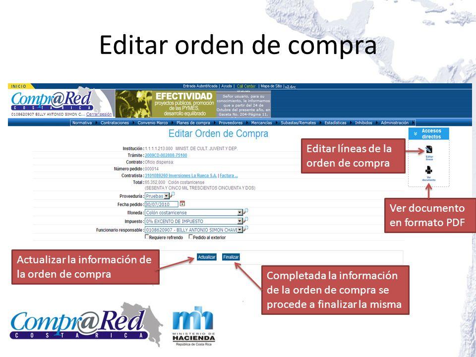 Editar orden de compra Editar líneas de la orden de compra