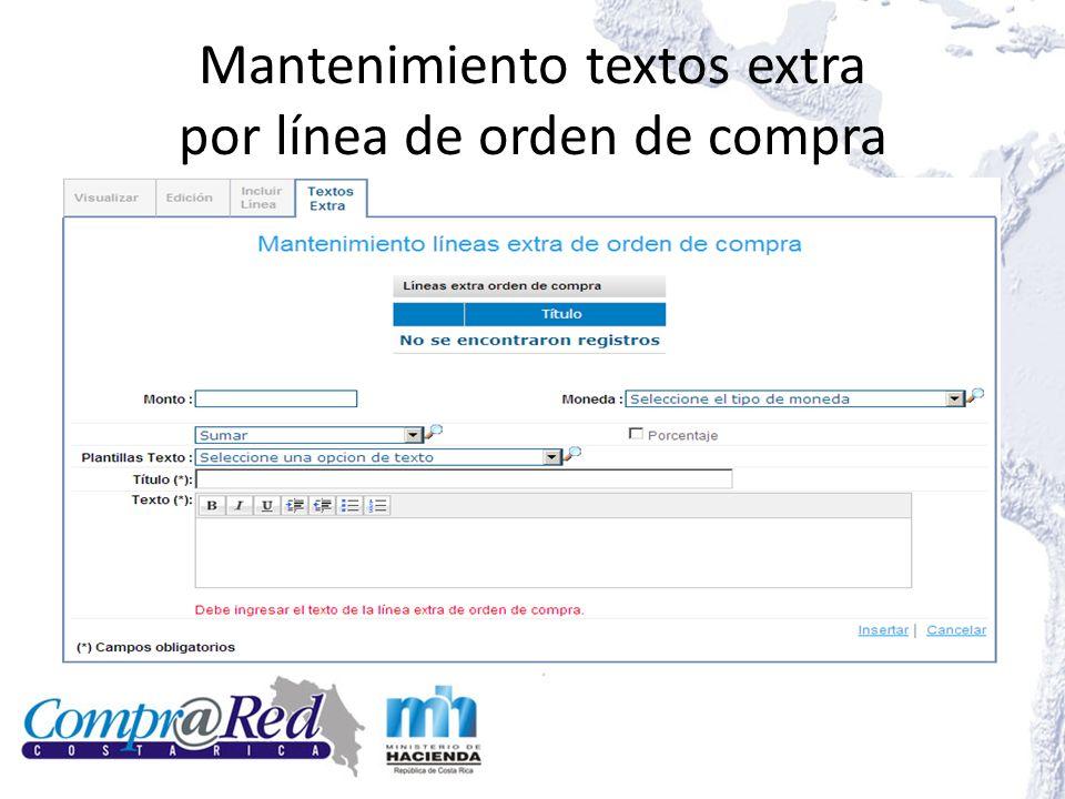 Mantenimiento textos extra por línea de orden de compra