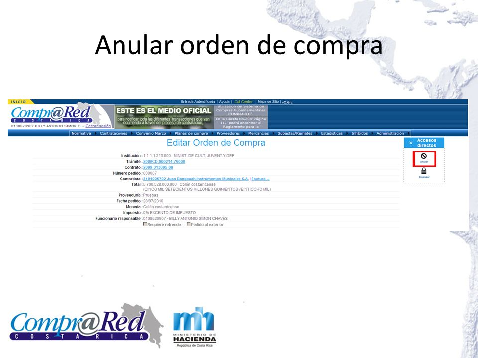 Anular orden de compra Editar líneas de la orden de compra