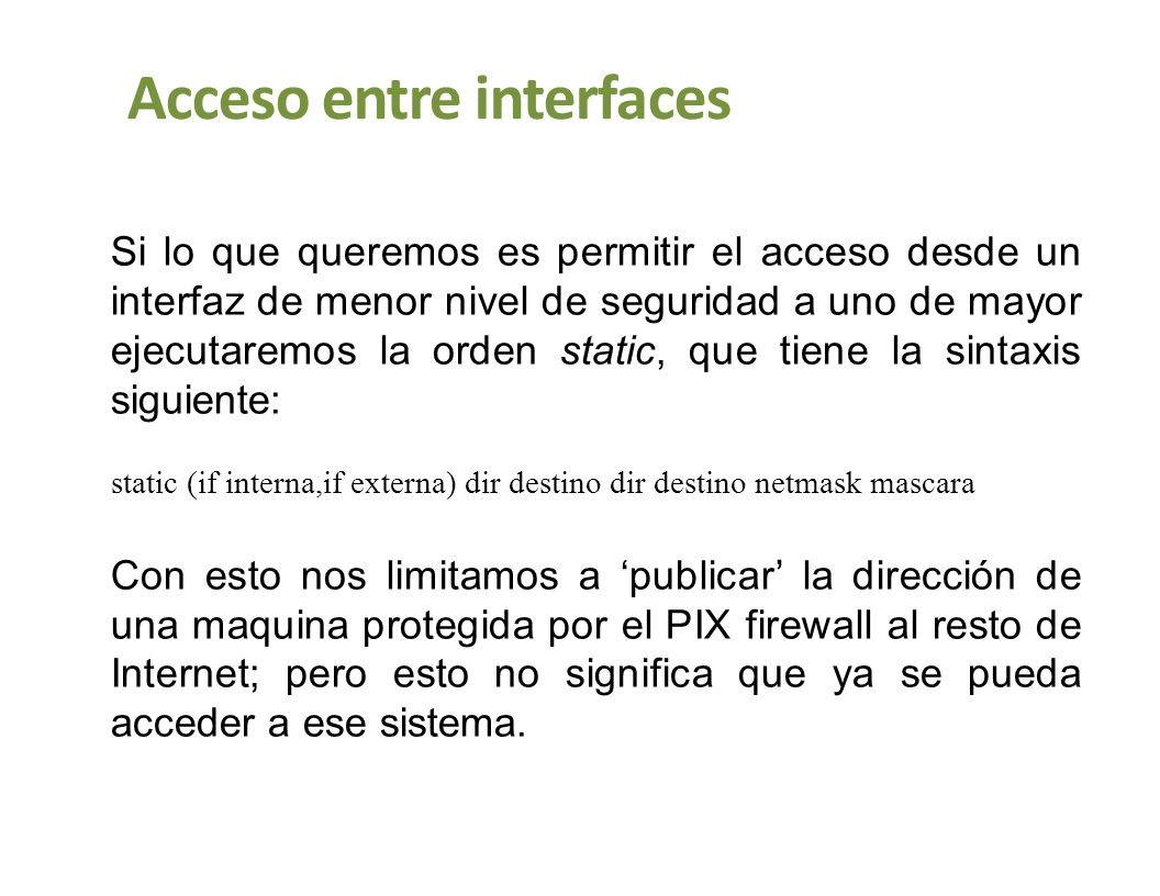 Acceso entre interfaces