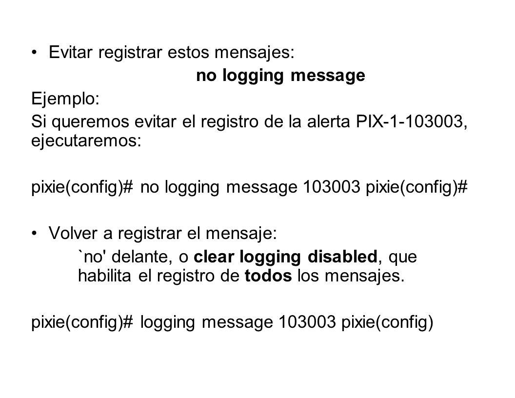 Evitar registrar estos mensajes: