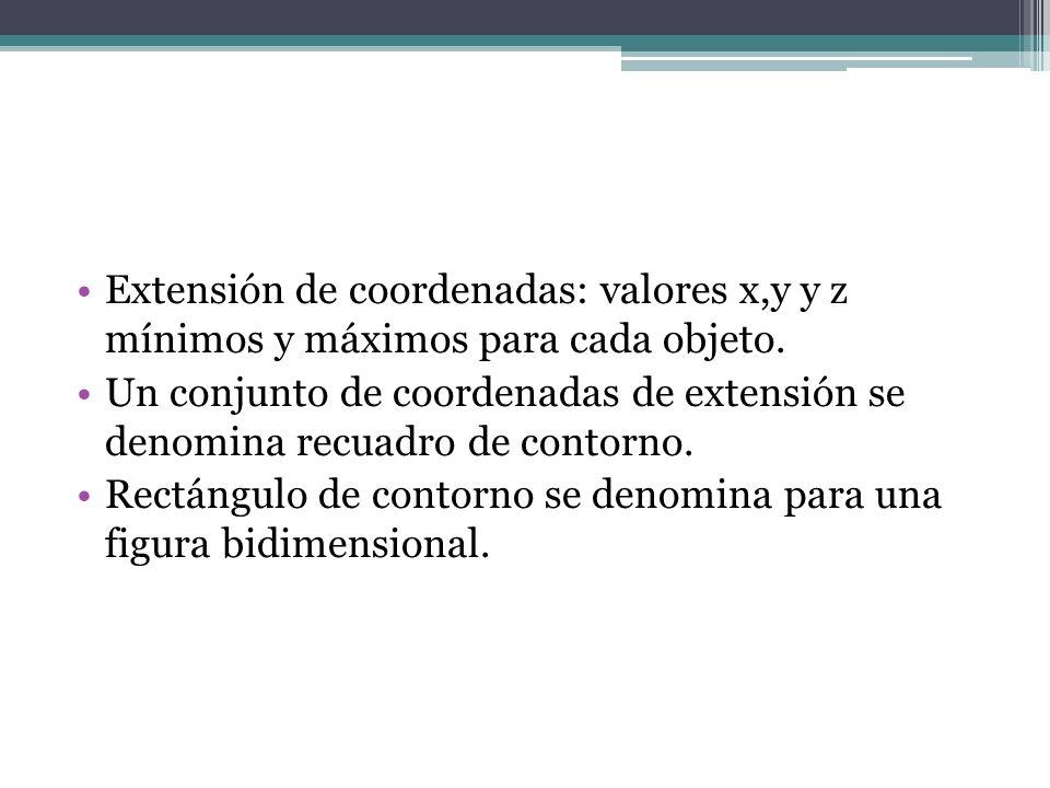 Extensión de coordenadas: valores x,y y z mínimos y máximos para cada objeto.