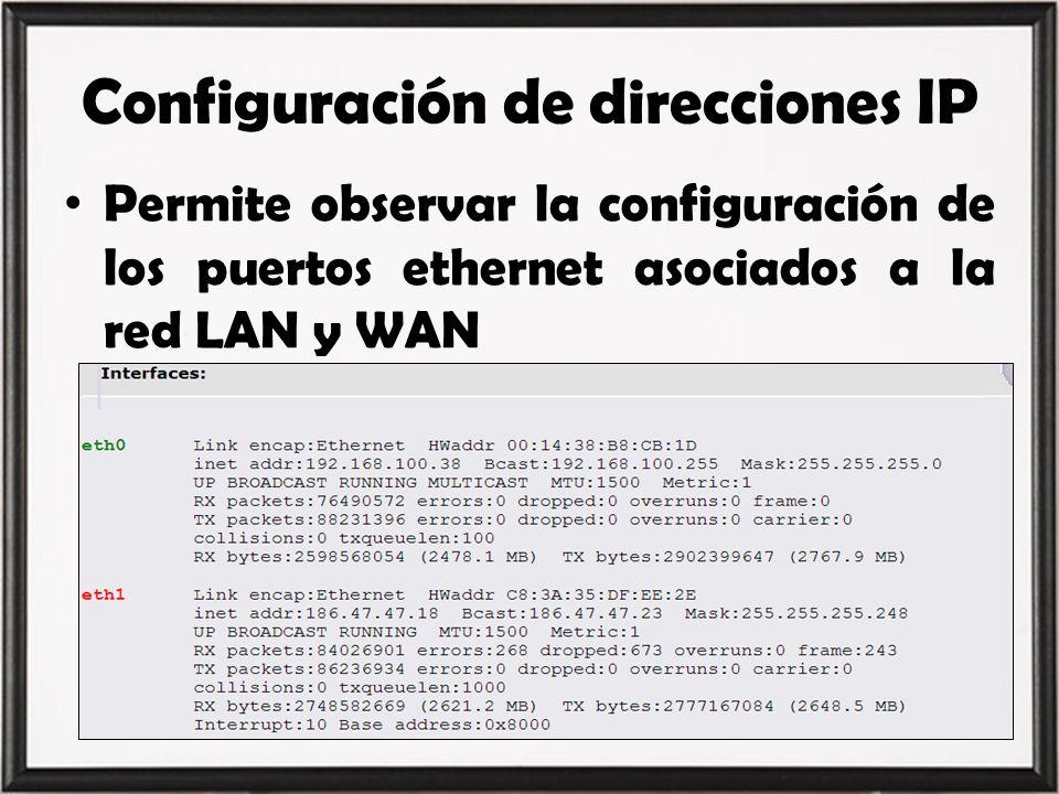 Configuración de direcciones IP