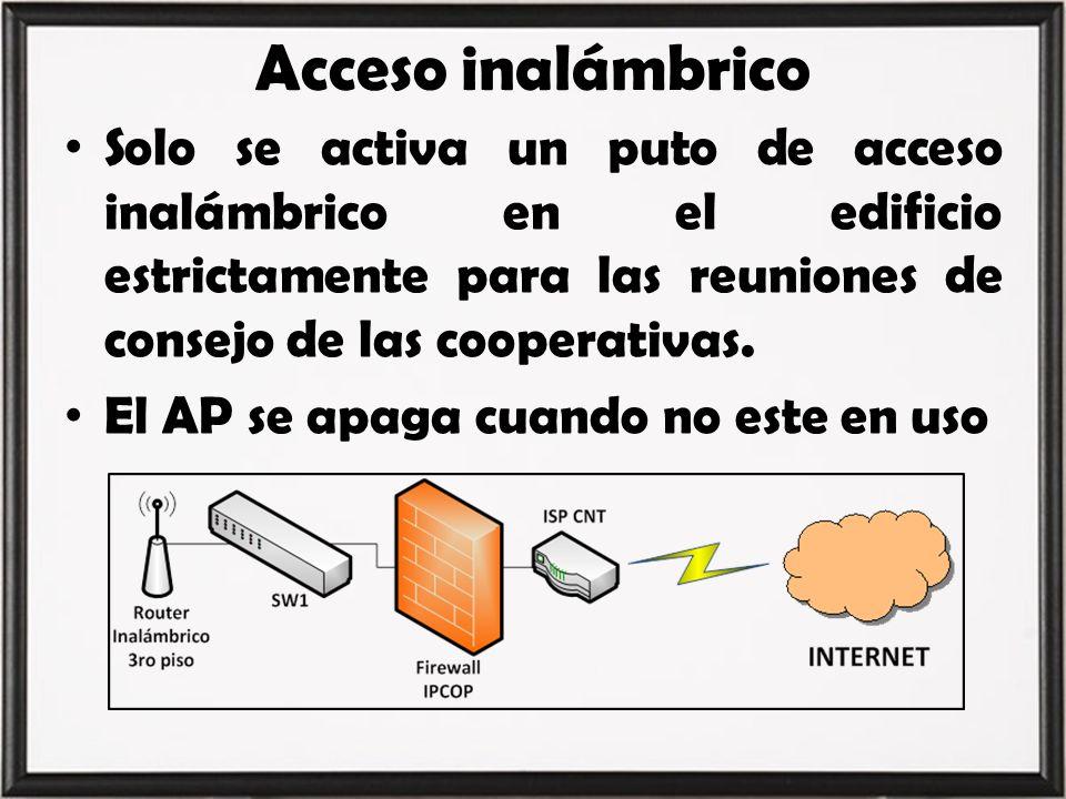 Acceso inalámbrico Solo se activa un puto de acceso inalámbrico en el edificio estrictamente para las reuniones de consejo de las cooperativas.