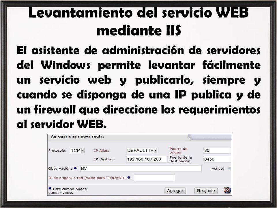 Levantamiento del servicio WEB mediante IIS