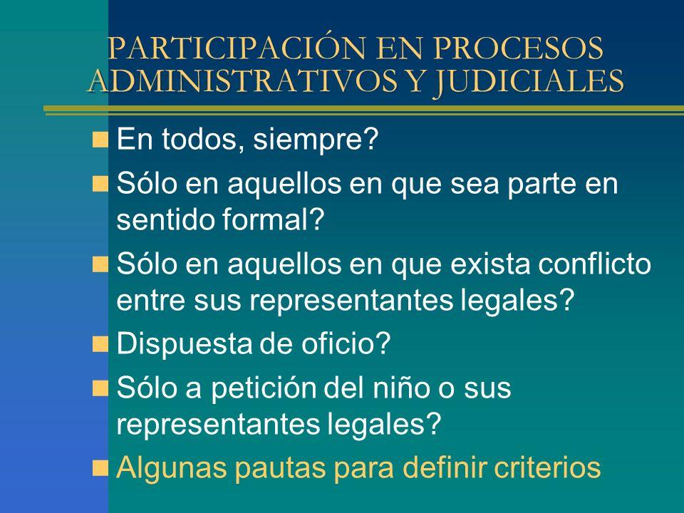 PARTICIPACIÓN EN PROCESOS ADMINISTRATIVOS Y JUDICIALES