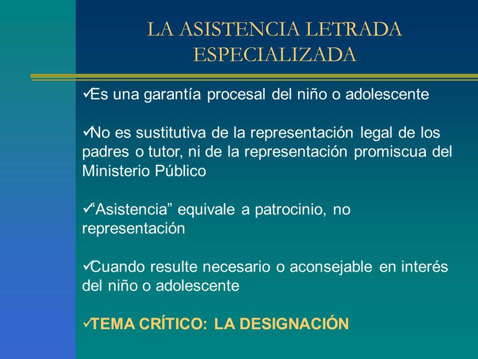 LA ASISTENCIA LETRADA ESPECIALIZADA