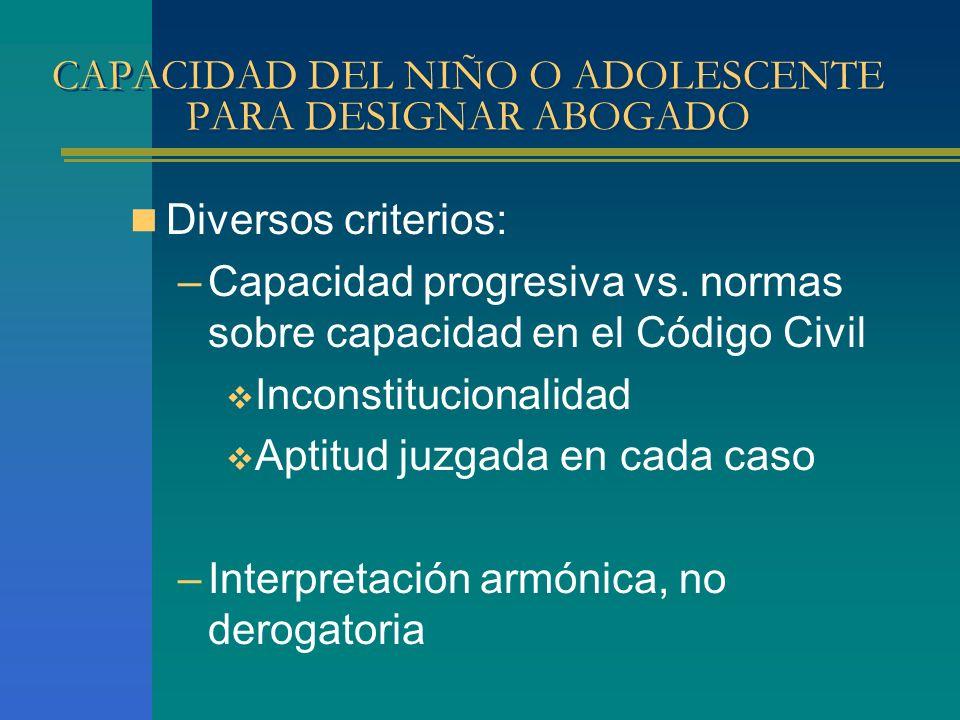 CAPACIDAD DEL NIÑO O ADOLESCENTE PARA DESIGNAR ABOGADO