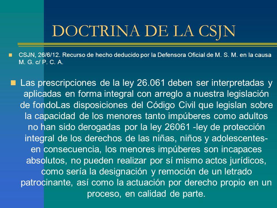 DOCTRINA DE LA CSJN CSJN, 26/6/12. Recurso de hecho deducido por la Defensora Oficial de M. S. M. en la causa M. G. c/ P. C. A.