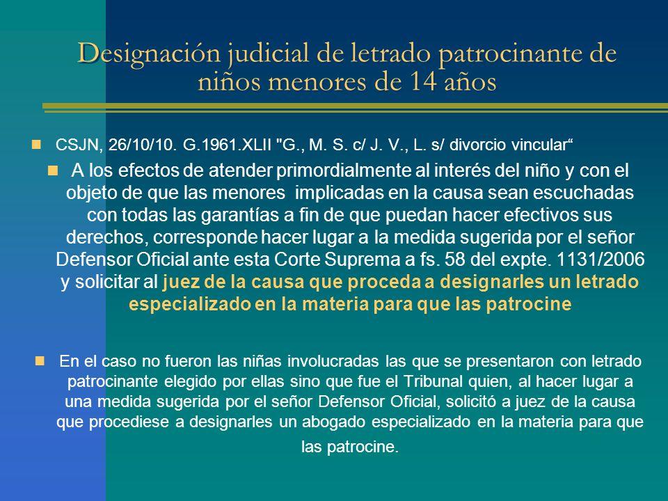 Designación judicial de letrado patrocinante de niños menores de 14 años