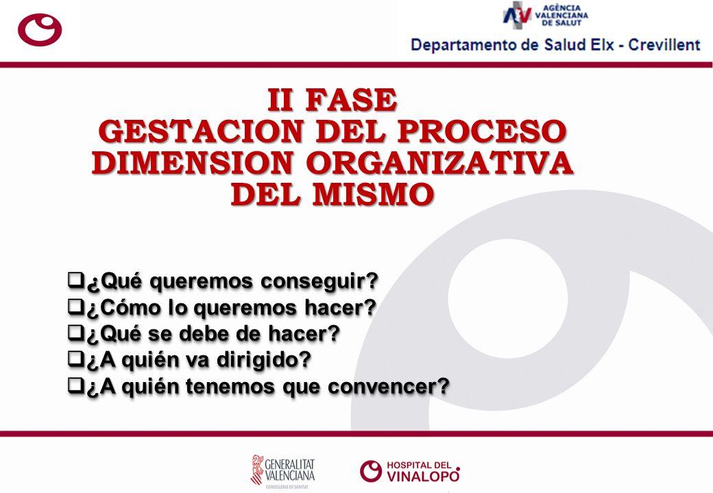 II FASE GESTACION DEL PROCESO DIMENSION ORGANIZATIVA DEL MISMO