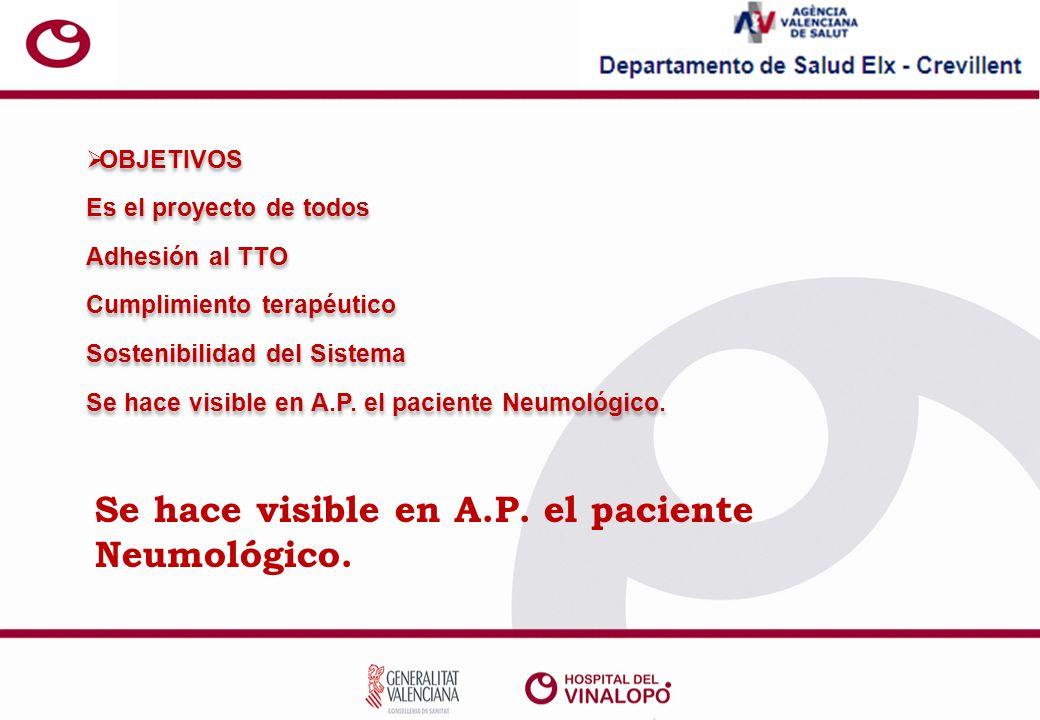 Se hace visible en A.P. el paciente Neumológico.