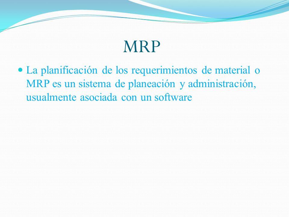 MRP La planificación de los requerimientos de material o MRP es un sistema de planeación y administración, usualmente asociada con un software.
