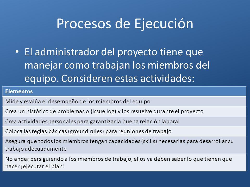 Procesos de Ejecución El administrador del proyecto tiene que manejar como trabajan los miembros del equipo. Consideren estas actividades: