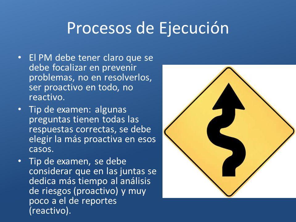 Procesos de Ejecución El PM debe tener claro que se debe focalizar en prevenir problemas, no en resolverlos, ser proactivo en todo, no reactivo.