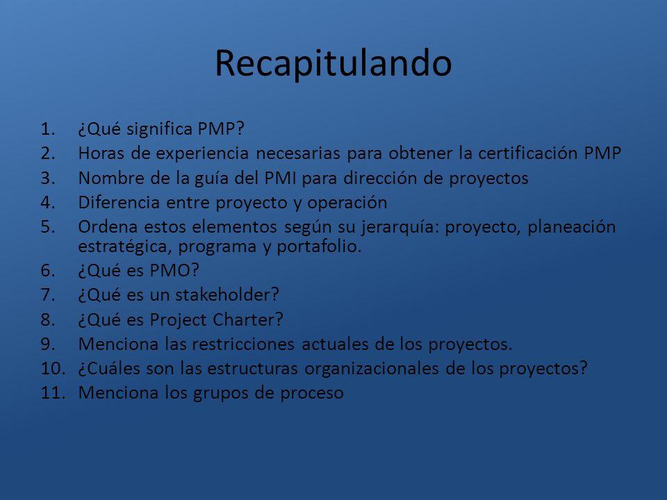 Recapitulando ¿Qué significa PMP