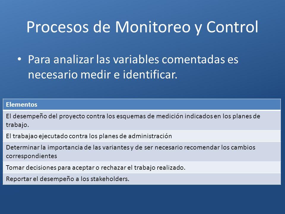 Procesos de Monitoreo y Control