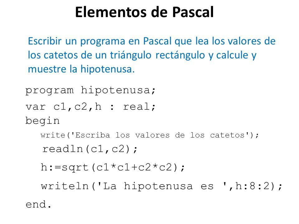 Elementos de Pascal Escribir un programa en Pascal que lea los valores de los catetos de un triángulo rectángulo y calcule y muestre la hipotenusa.