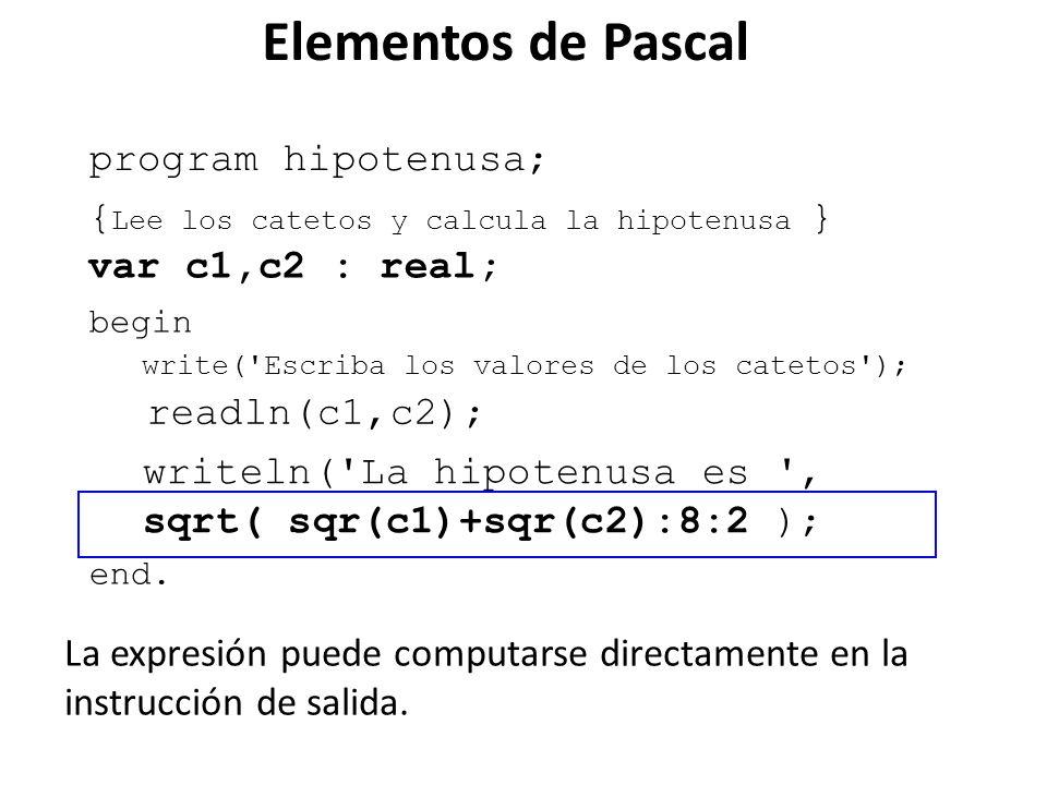 Elementos de Pascal program hipotenusa;