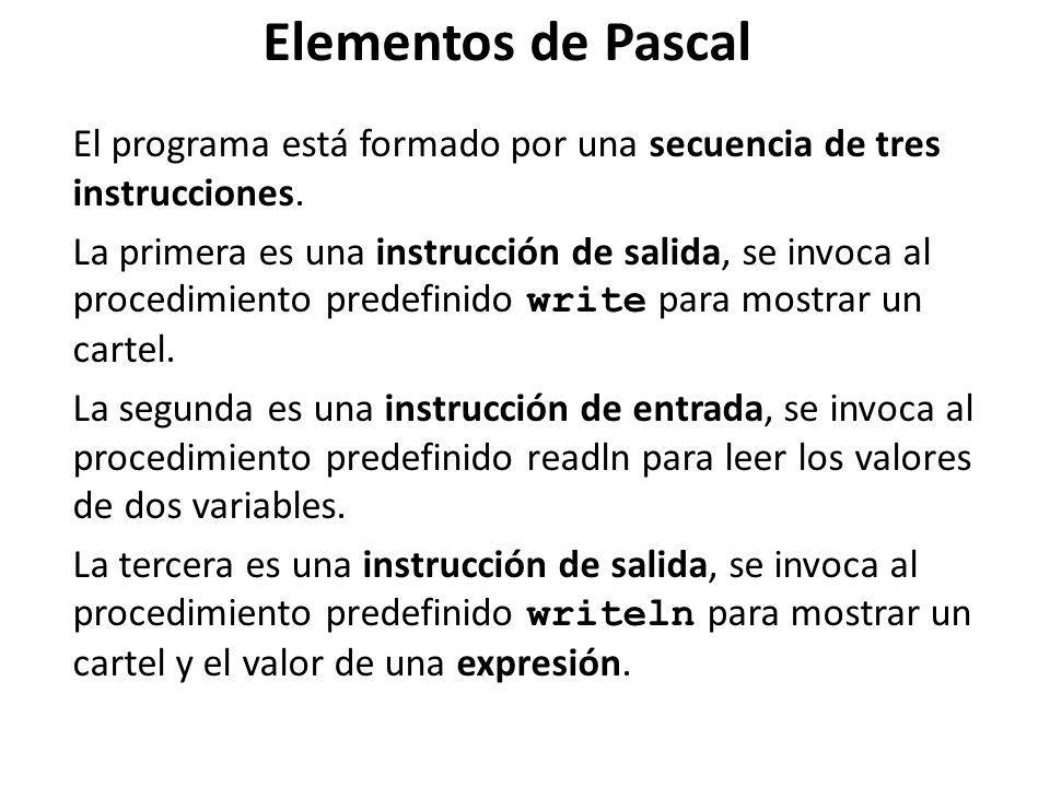 Elementos de Pascal El programa está formado por una secuencia de tres instrucciones.