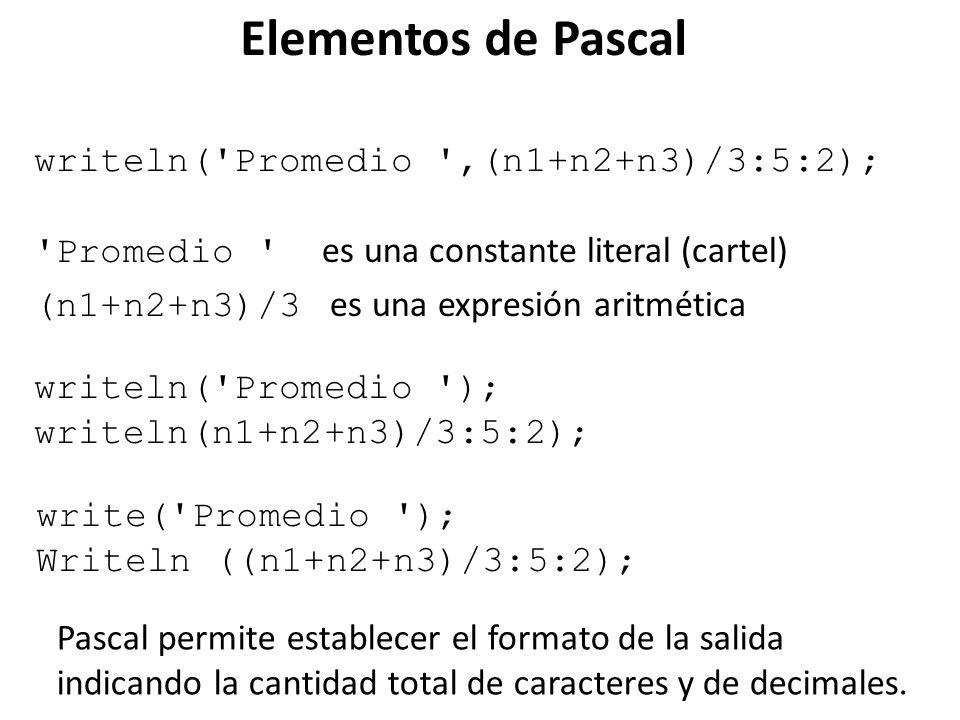 Elementos de Pascal writeln( Promedio ,(n1+n2+n3)/3:5:2);