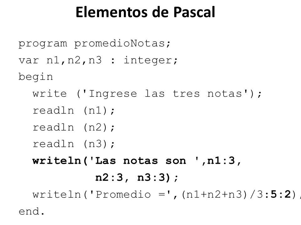 Elementos de Pascal program promedioNotas; var n1,n2,n3 : integer;