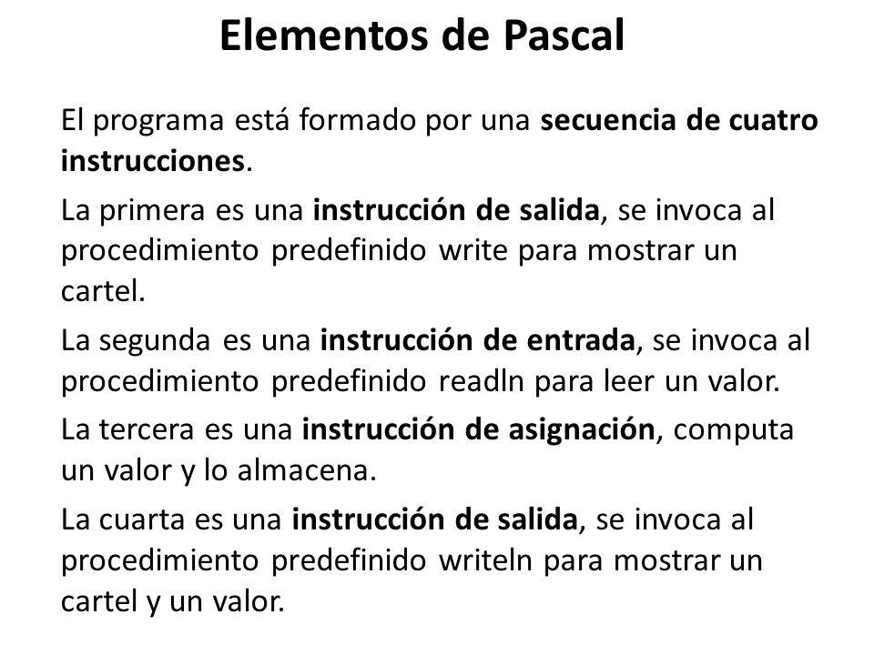 Elementos de PascalEl programa está formado por una secuencia de cuatro instrucciones.
