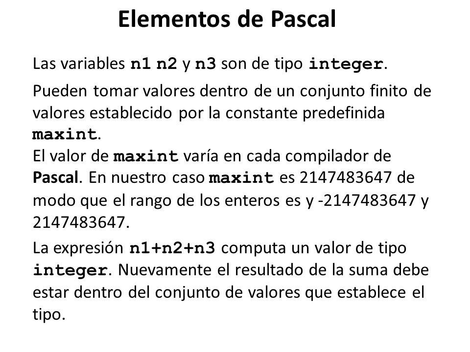 Elementos de Pascal Las variables n1 n2 y n3 son de tipo integer.