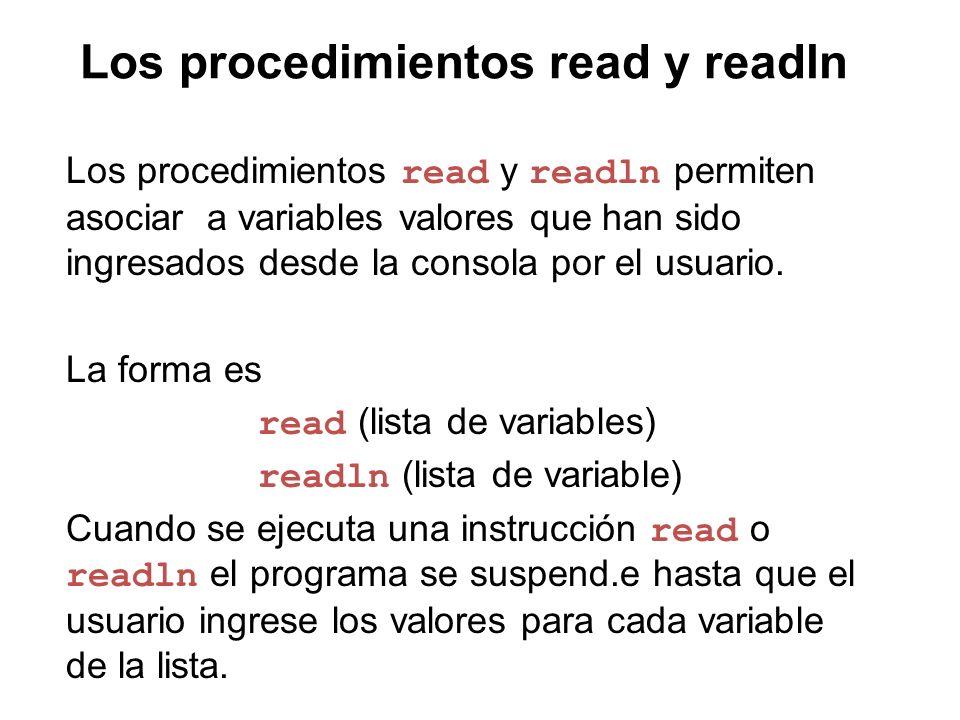 Los procedimientos read y readln