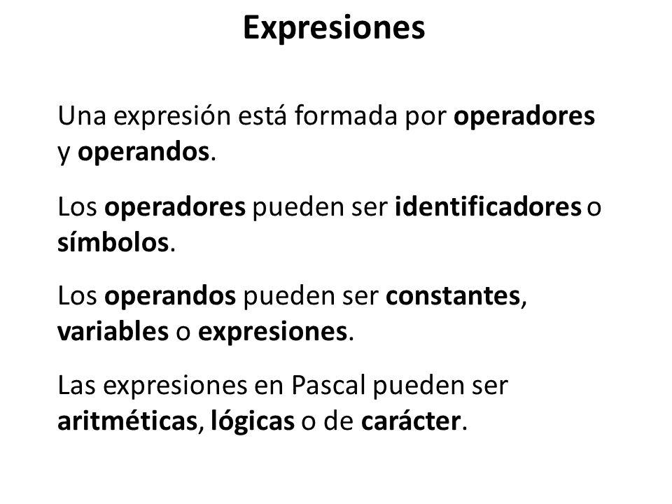 Expresiones Una expresión está formada por operadores y operandos.
