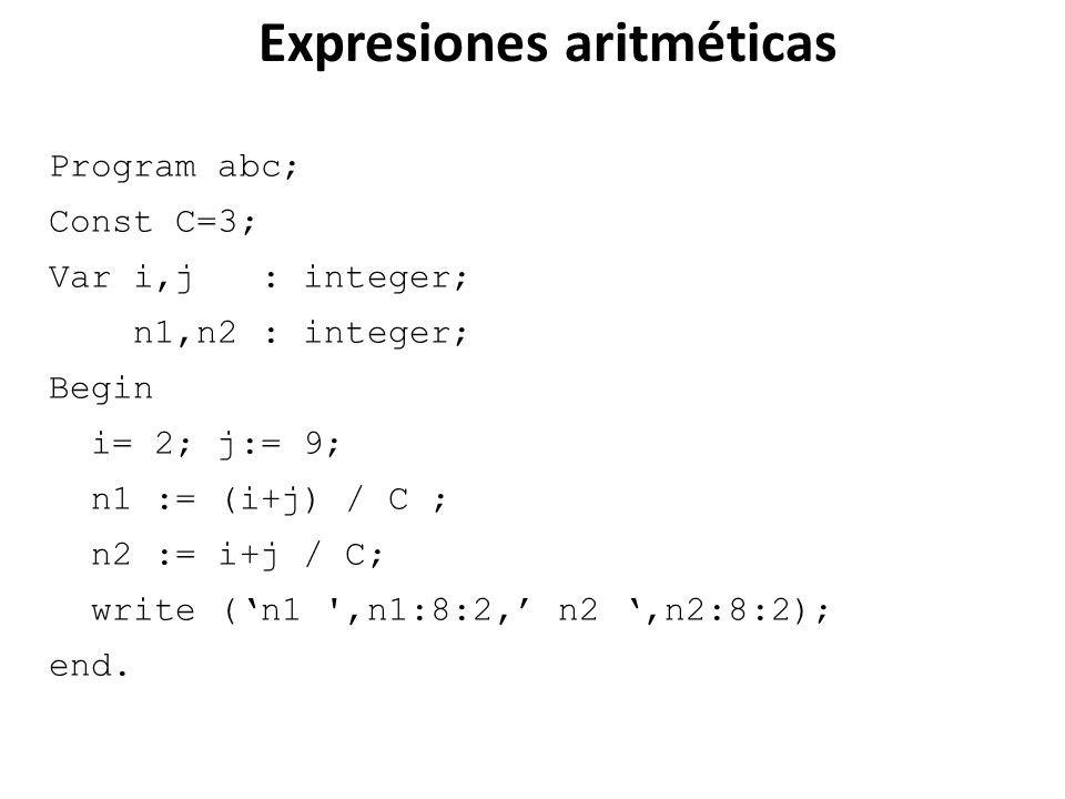 Expresiones aritméticas