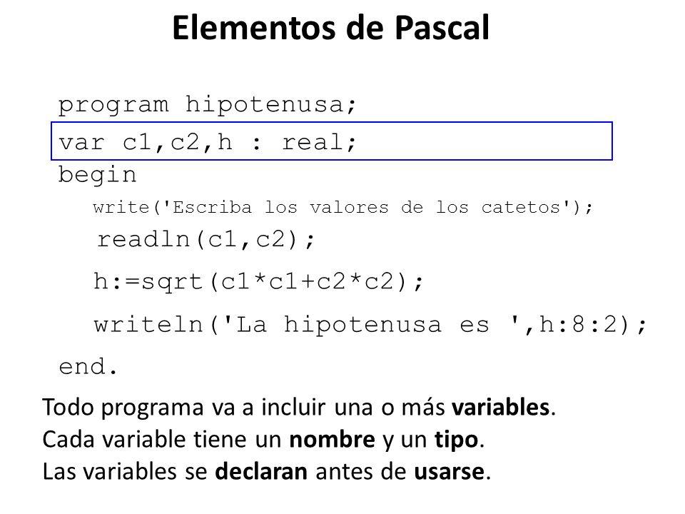 Elementos de Pascal program hipotenusa; var c1,c2,h : real; begin