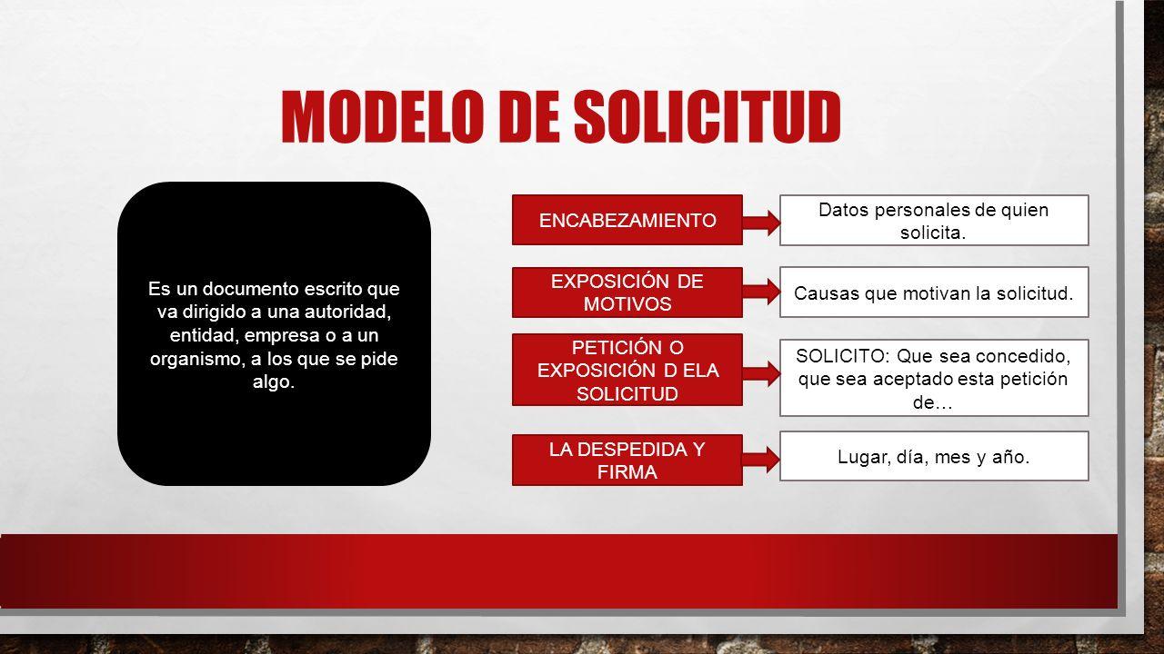 MODELO DE SOLICITUD Datos personales de quien solicita. ENCABEZAMIENTO