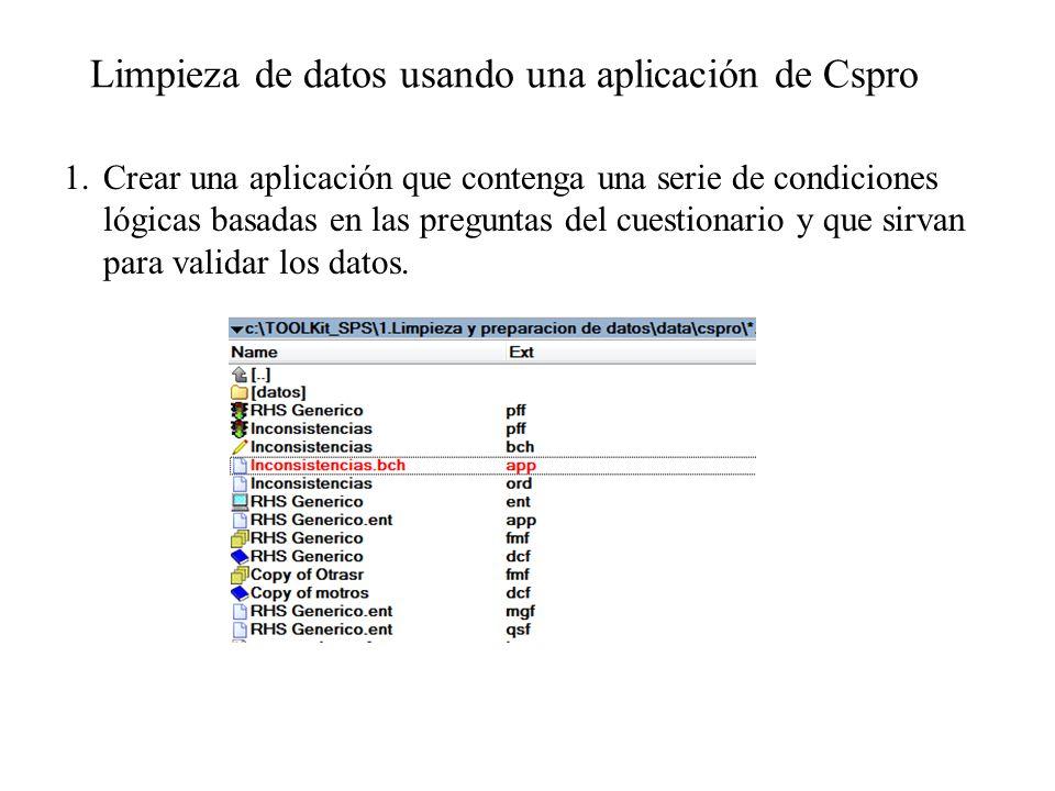Limpieza de datos usando una aplicación de Cspro