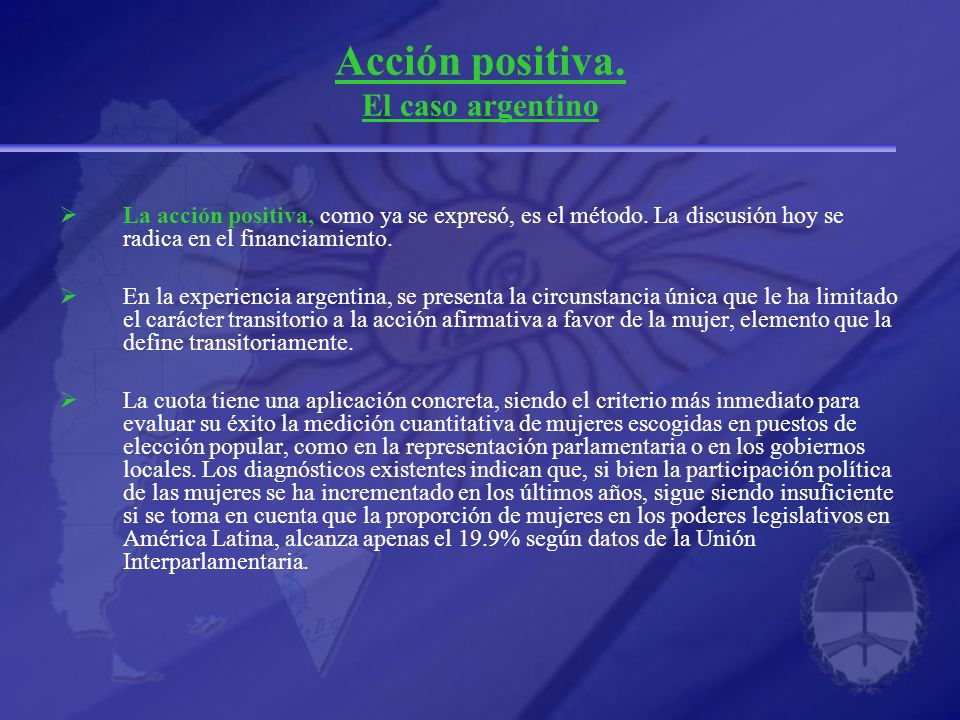 Acción positiva. El caso argentino