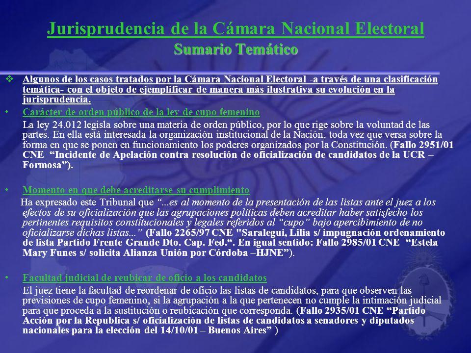 Jurisprudencia de la Cámara Nacional Electoral Sumario Temático