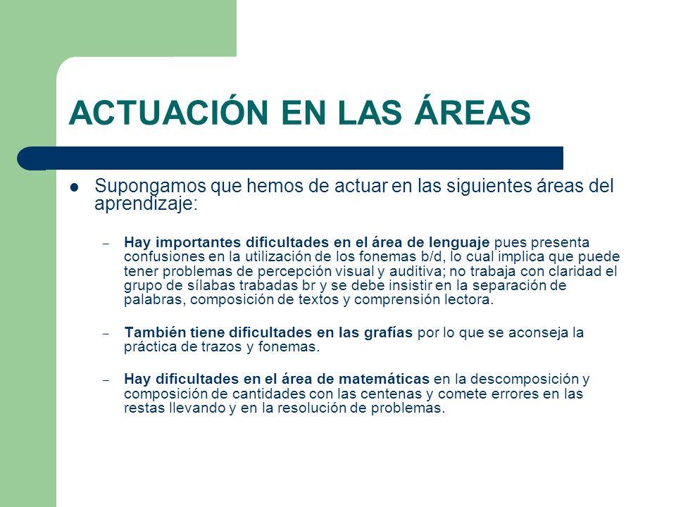 ACTUACIÓN EN LAS ÁREAS Supongamos que hemos de actuar en las siguientes áreas del aprendizaje: