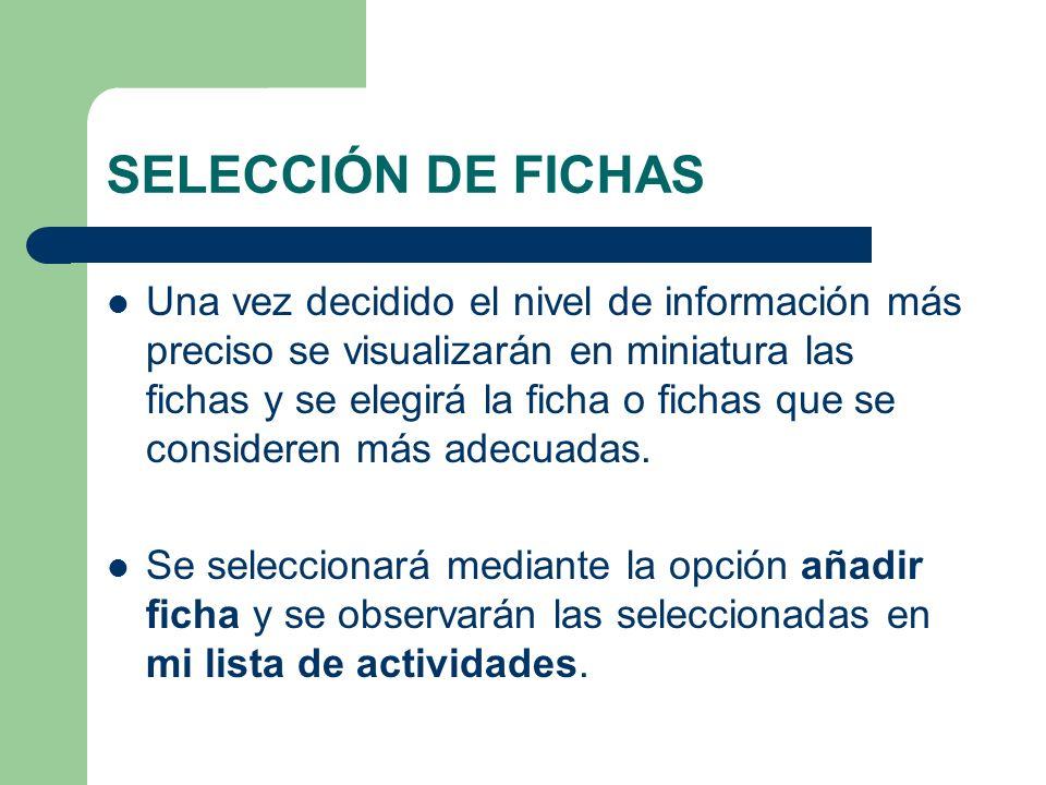 SELECCIÓN DE FICHAS