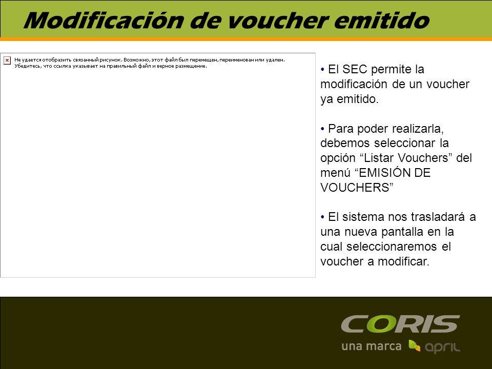 Modificación de voucher emitido