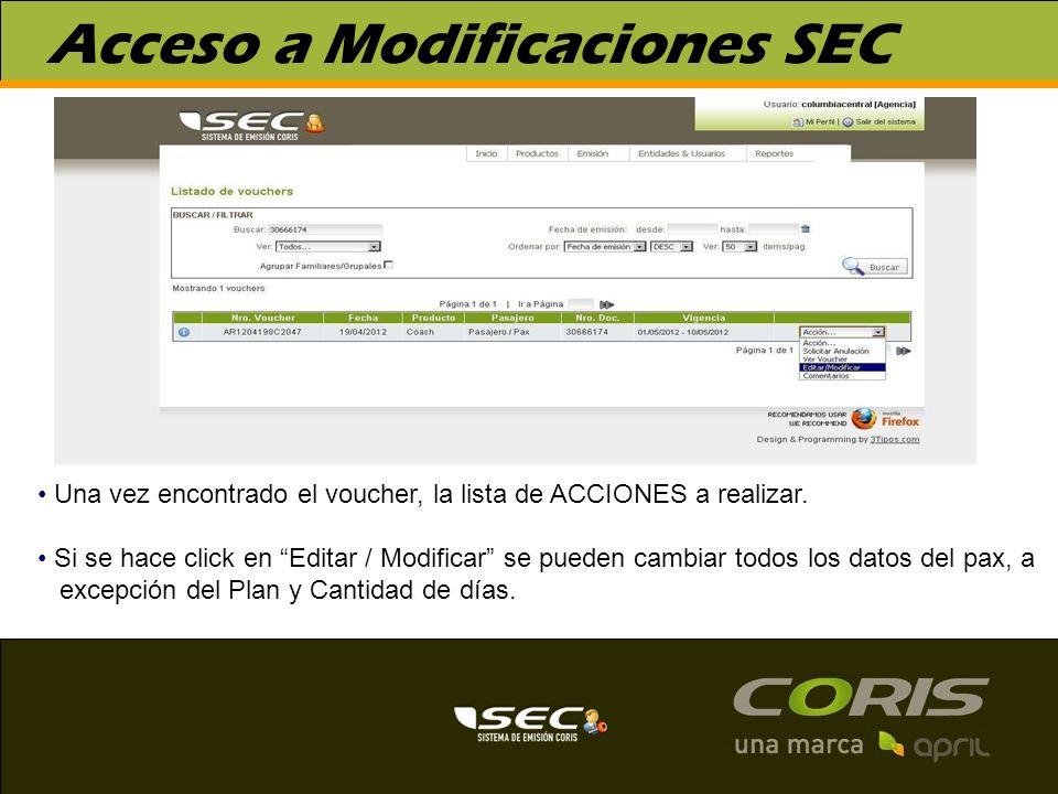 Acceso a Modificaciones SEC