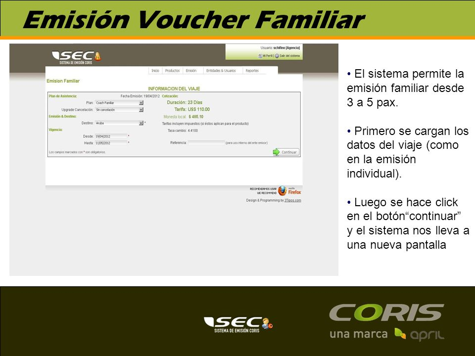 Emisión Voucher Familiar