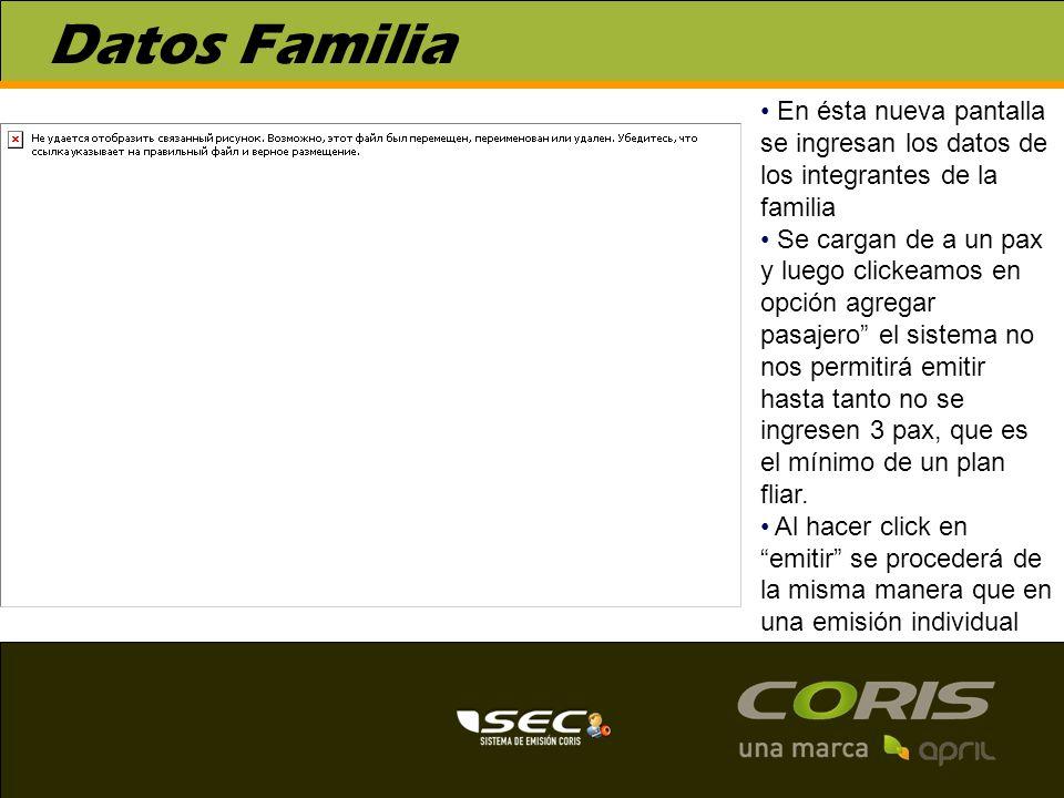 Datos Familia En ésta nueva pantalla se ingresan los datos de los integrantes de la familia.