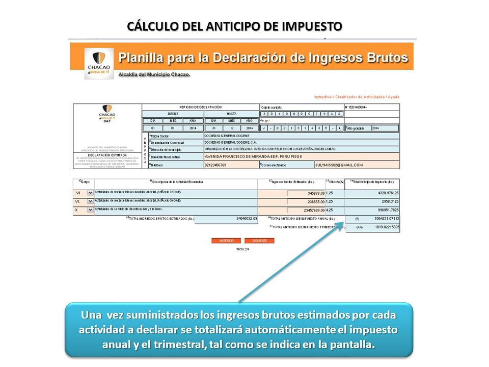 CÁLCULO DEL ANTICIPO DE IMPUESTO